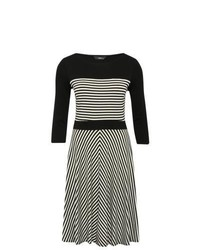 M co striped jersey skater dress with sleeves black and white 8 medium 351850