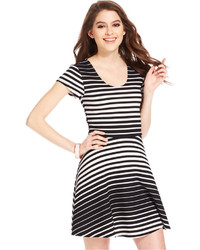 Black and White Horizontal Striped Skater Dresses for Women ...