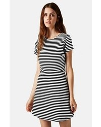 Women s Black and White Horizontal Striped Skater Dresses by Topshop ... 209aa6f3d