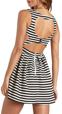 Charlotte Russe Striped Heart Cut Out Skater Dress | Where to buy ...