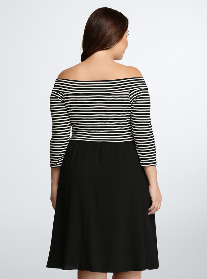 893159378685 Torrid Striped Off Shoulder Skater Dress