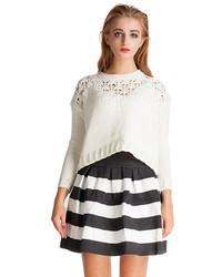 Black and White Horizontal Striped Skater Skirt