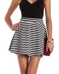 Charlotte Russe Textured Stripe Skater Skirt