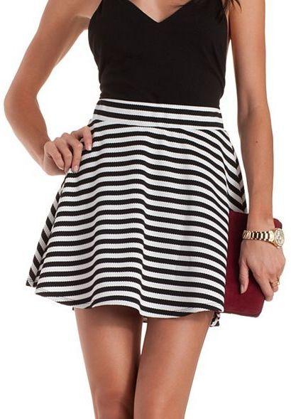 e568e5e43f5 ... Charlotte Russe Textured Stripe Skater Skirt
