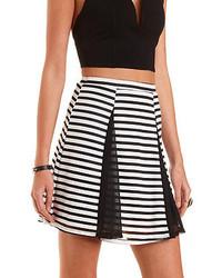 Charlotte Russe Sheer Striped Skater Skirt