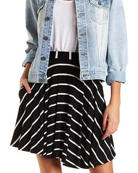 Charlotte Russe Striped Skater Skirt With Pockets