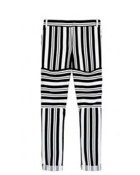 Black and White Horizontal Striped Skinny Pants