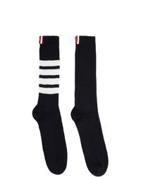 Thom Browne Navy Chunky Rib 4 Bar Mid Calf Socks