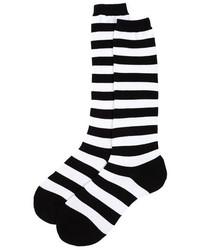 Sock It To Me Black White Striped Over The Knee Socks
