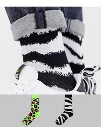 ASOS DESIGN Socks In Fluro Animal Print Design 2 Pack