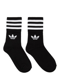 adidas Originals Three Pack Black And White Striped Mid Cut Socks