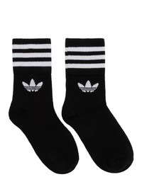 adidas Originals Three Pack Black Solid Crew Socks