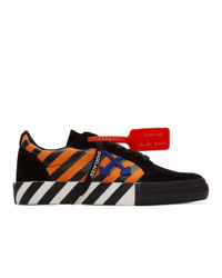 Off-White Black And Orange Diag Low Vulcanized Sneakers