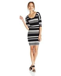 Derek heart juniors stripe double scoop neck elbow sleeve sweater dress medium 1346450