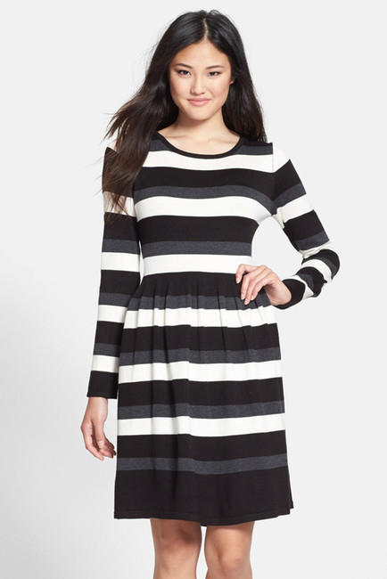 97eebf4d152 ... Striped Sweater Dresses Vince Camuto Stripe Long Sleeve Fit Flare Sweater  Dress ...