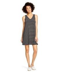 Black and White Horizontal Striped Swing Dress