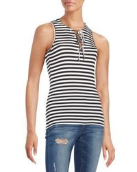 Saks Fifth Avenue RED Striped Rib Knit Tank Top