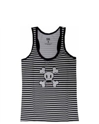 WebUndies Skurvy The Skeleton Striped Black And White Racer Tank