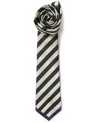 Black and White Horizontal Striped Tie