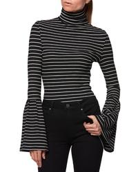 142ced3847b72b Black and White Horizontal Striped Turtlenecks for Women