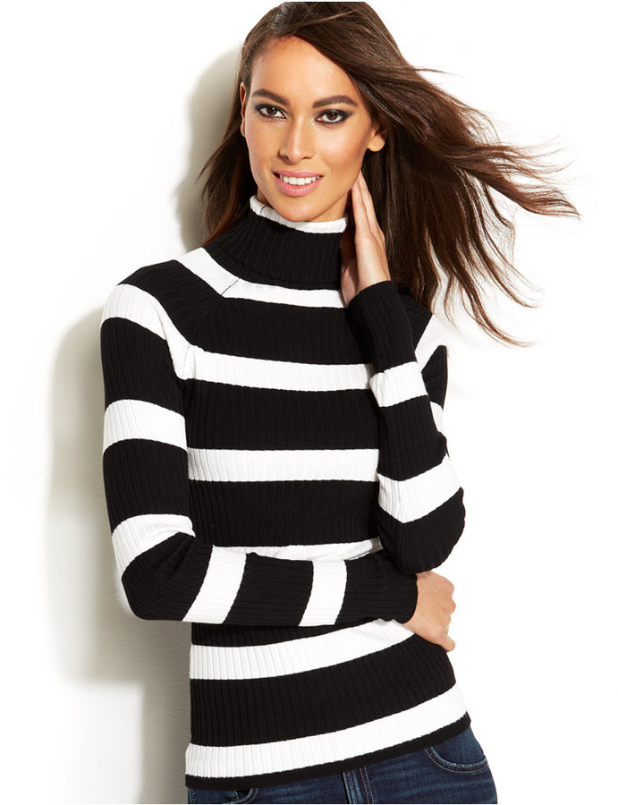 INC International Concepts Petite Striped Ribbed Knit Turtleneck ...