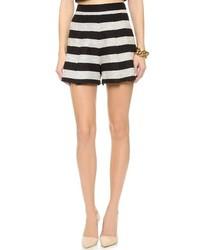 Black and White Horizontal Striped Tweed Shorts