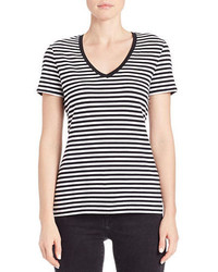 Black and White Horizontal Striped V-neck T-shirt