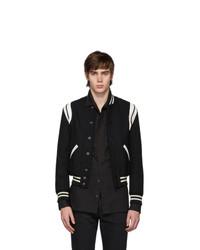 Saint Laurent Black And White Striped Teddy Bomber