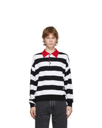 AMI Alexandre Mattiussi Black And White Striped Rugby Polo