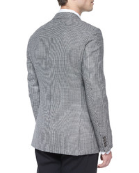 Armani Collezioni G Line Houndstooth Sport Jacket Blackwhite