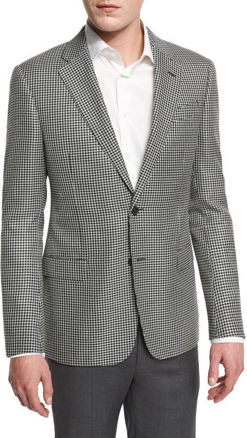 Armani Collezioni G Line Large Houndstooth Sport Coat Blackwhite ...