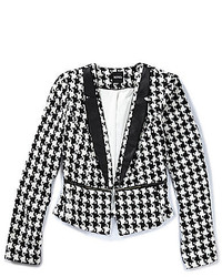 XOXO Houndstooth Faux Leather Trim Blazer