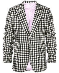 Gucci Houndstooth Ruched Sleeve Blazer