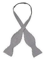 Barneys New York Houndstooth Jacquard Bow Tie Black