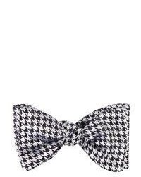 Barneys New York Houndstooth Jacquard Bow Tie Black