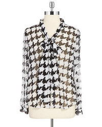 Arthur s levine tie neck houndstooth blouse medium 103058