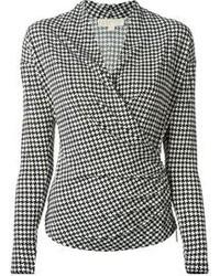 Michael michael kors michl michl kors houndstooth print wrap style blouse medium 103061
