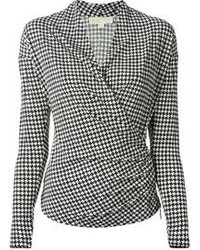 Michl michl kors houndstooth print wrap style blouse medium 103061
