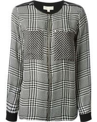 Michl michl kors sheer panel houndstooth blouse medium 103062