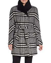 Ellen tracy brushed houndstooth wrap coat medium 93862