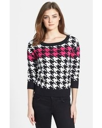 Black and White Houndstooth Crew-neck Sweater