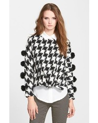 Sister Jane Cheer Check Houndstooth Pullover With Faux Fur Pompoms