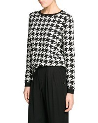 Mango Outlet Houndstooth Wool Blend Sweater