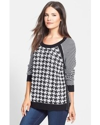 Vince Camuto Two By Houndstooth Front Jacquard Sweater