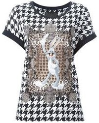 Black and White Houndstooth Crew-neck T-shirt
