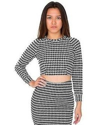 Rsa0389 houndstooth long sleeve crop raglan sweater medium 89209
