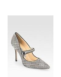 Manolo Blahnik Campari Houndstooth Calf Hair Pumps Black White