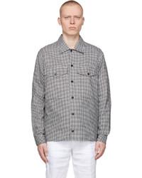BOSS Black White Houndstooth Narsete Shirt