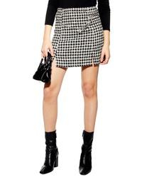 Black and White Houndstooth Mini Skirt