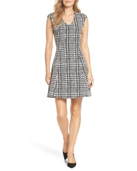 FOREST LILY Houndstooth Jacquard Fit Flare Dress